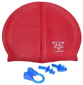 Goodluck Swimming cap, Swim cap or Bathing cap With Nose and Ear Plugs