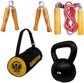 GRIFFIN HOME GYM COMBO-1 ( 2pc PVC KETELLBELL + 1 GYM BAG+ 1 pc WOODEN HANDLE SKIPPING+ 2 pc HANDGRIPPER )
