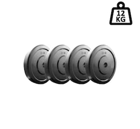 GYM Fitness 3 kg 4 DUMBBELL PLATES Adjustable Dumbbell  3kg X 4 =12kg)