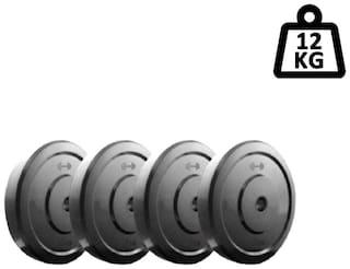 GYM Fitness 3 kg 4 DUMBBELL PLATES Adjustable Dumbbell  3kg X 4 =12kg)