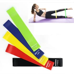GymWar 5 LEVEL THERA BAND FULL BODY WOKROUT LOOP BANDS-Multi