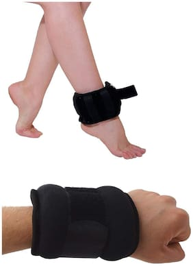 GYMWAR Adjustable Ankle And Wrist Weight 1 kg each ( Pair ) Black Ankle & Wrist Weight (2 kg)