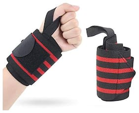 Gymwar Fitness Accessories Equpment Weight Lifting with Velcro closure Wrist Support Wrist Support (Red;Black)