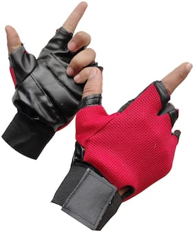 Gymwar Fitness Accessories Equpment GYM GLOVES Gym & Fitness Gloves (Red)