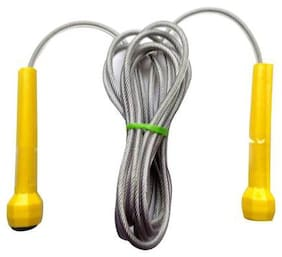 Gymwar Fitness Accessories Equpment Plastic Handle Non-Breakable Coted Steel Wire Skipping rope Freestyle Speed Skipping Rope (Yellow)