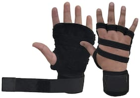 Gymwar Fitness Accessories Equpment Gym Gloves With Wrist Support For Weight Lifting Gym & Fitness Gloves (Black)