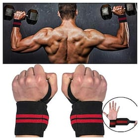 Gymwar Fitness Accessories Equpment Weight Lifting Wrist Support (Pack of 2) Wrist Support (Red;Black)