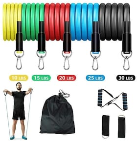 GymWar Latex Resistance Exercise Bands Include 5 Different Levels/Door Anchor/Foam Handles and Carrying Bag