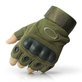 GymWar Tactical Gloves Rubber Hard Knuckle Gloves Half Finger Outdoor Gloves Gym & Fitness Gloves (Green)