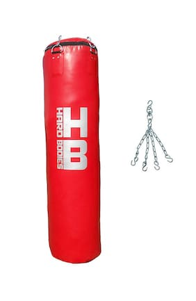 Hard Bos Synthetic Leather Punching Bag Red Filled 4 Feet