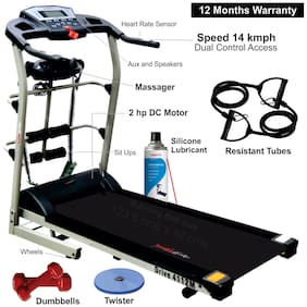 Healthgenie 7in1 Motorized Treadmill 4112M 2HP (4 HP at Peak) with Massager, Sit-ups, Tummy Twister, Dumbbells, Resistant Tubes & Silicone Treadmill Lubricant 550ml for Home Use, Max Speed 14 Kmph.