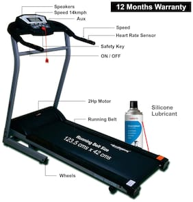 Healthgenie Drive 4012M Motorized Treadmill (2.0 Hp) With Silicone Treadmill Lubricant 550ml, Manual Incline & Max Speed 14 Kmph - 12 Months Warranty