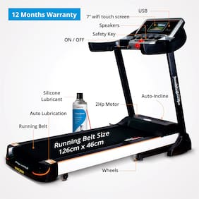 Healthgenie Commercial Motorized Treadmill 4612C with Auto Inclination & Lubrication, 2.0 HP AC Motor, Max Speed 16 Kmph with Silicone Treadmill Lubricant