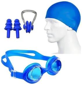 Hipkoo Aquatic Swimming Goggles, Cap & Ear, Nose Plugs (Adults & Children) Swimming Kit