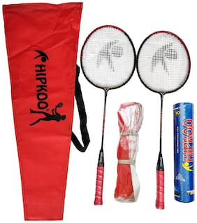 Hipkoo Badminton Kit (2 Racket, Pack Of 10 Shuttlecocks And Net) Badminton Kit