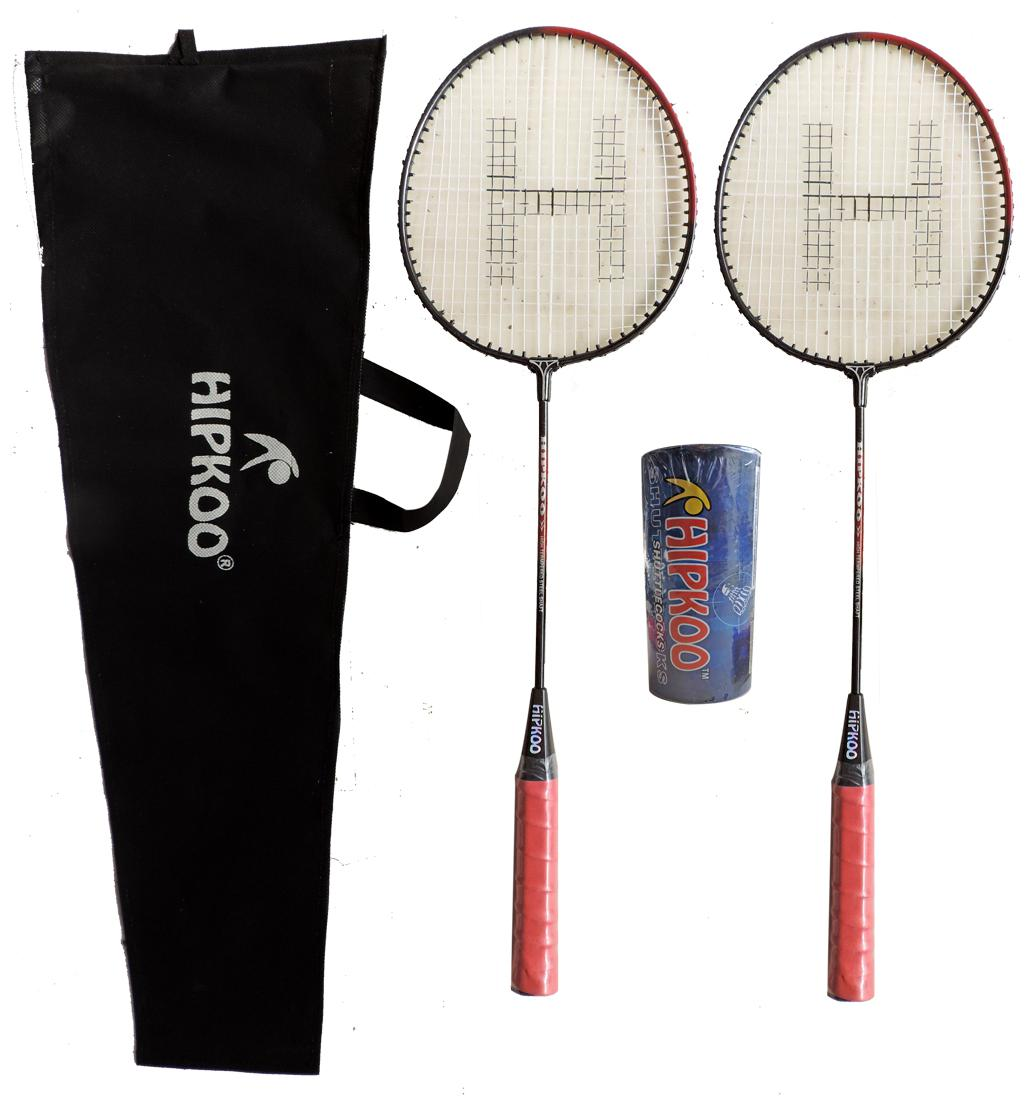 Hipkoo DARK BADMINTON RACKET 2 SET AND PACK OF 3 PLASTIC SHUTTLECOCK Badminton Kit Badminton Kit by ABG International