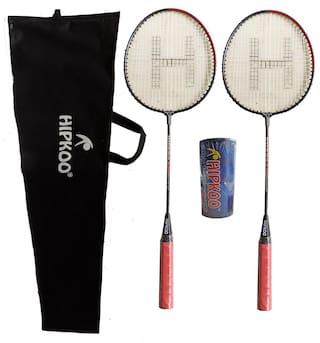 Hipkoo DARK BADMINTON RACKET 2 SET AND PACK OF 3 PLASTIC SHUTTLECOCK Badminton Kit Badminton Kit