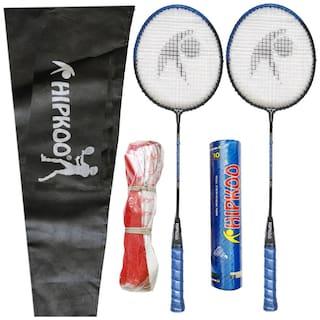 Hipkoo ENTIRE BADMINTON KIT (2 Racket, Pack Of 10 Shuttlecocks and Net) Badminton Kit