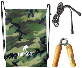 Hipkoo Gym Fitness Combo (Gym Drawstring Bag, Hand Grip And Skipping Rope) Gym & Fitness Kit