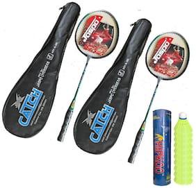 Hipkoo Jaspo Energetic Catch Badminton Rackets With Hipkoo Shuttlecocks (10 pcs) Badminton Kit