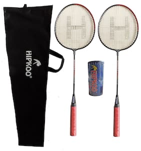 Hipkoo Junior BR-01 Badminton Racquet Set of 2 (Red) with pack of 3 plastic shuttlecock Badminton Kit