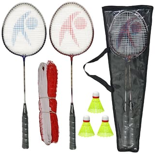 Hipkoo Power 04 Badminton Set (Badminton Rackets Set Of 2, 3 Shuttlecock and Net With Carry Bag)