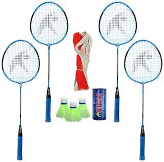 Hipkoo Sport Strength Badminton Combo (Set Of 4) 3 Shuttles and Net Badminton Kit