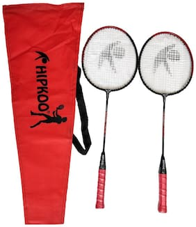 Hipkoo Tough Badminton Racket (Set Of 2) Red Strung Badminton Racquet