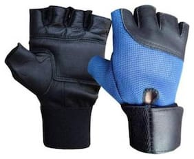 HMFURRYS FINEST Leather Gym & Fitness Gloves  (Blue)