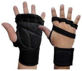HMFURRYS FINEST Gym Gloves With Wrist Support (Free Size  Black)