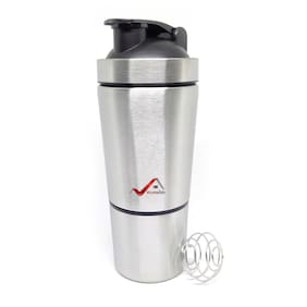 Homeish Stainless Steel Shaker for Gym with Extra Compartment for Protein Shakes / Smoothies / Supplements (Silver, 750ml)
