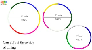 Hoola Hula Hoop Ring Coloured. 6 pc Jointable Adjustable Size;17 to 27 inch