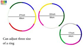 Hoola Hula Hoop Ring Coloured. 6 Pc Jointable Adjustable Size;17 to 27 Inches