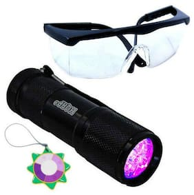 HQRP 365 nM Ultra Violet Blacklight Flashlight Torch Light+UV Protecting Glasses