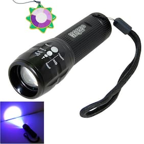 HQRP LED Ultra Violet UV Light Zoomable Zoom Torch Flashlight Camping Hiking