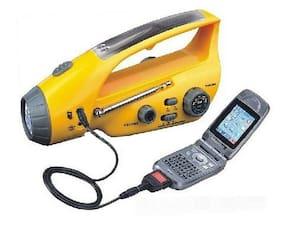 Hurricane Emergency Solar / Hand Crank RADIO & FLASHLIGHT Cell Phone Charger