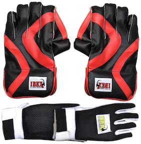 Ibex College Wicket Keeping Gloves Combo with Black Inner Gloves Wicket Keeping Gloves (Men, Red, Black)