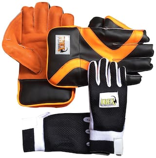 Ibex College Wicket Keeping Gloves Combo with Black Inner Gloves Wicket Keeping Gloves (Men, Orange, Black)