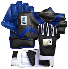 IBEX College Wicket Keeping Gloves Combo with Black Inner Gloves Wicket Keeping Gloves (Men, Blue, Black)