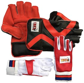 Ibex College Wicket Keeping Gloves and Inner Gloves Combo (Men, Red)