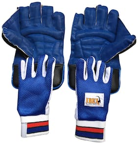 Ibex College Wicket Keeping Gloves and Inner Gloves Combo (Men, Blue)