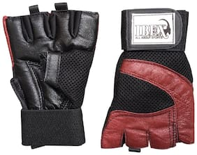 IBEX Leather Gym glove & Weight lifting glove ( L , Black & Brown )