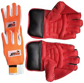 IBEX JetFire Wicket Keeping Gloves Combo With Inner Gloves Wicket Keeping Gloves (L, Red)
