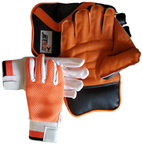 IBEX JetFire Practice Wicket Keeping Gloves and Inner Gloves Combo (Men, Orange Multicolor)