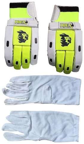 IBEX Match Batting Gloves Combo With Inner Gloves (L, Green) Multicolor