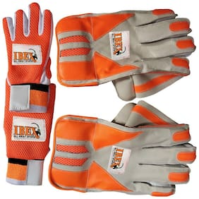 IBEX Match Wicket Keeping Gloves Combo with Inner Gloves Wicket Keeping Gloves (L, Orange)