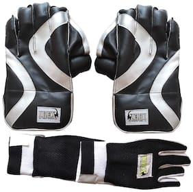 IBEX Practice Wicket Keeping Gloves Combo Black with Inner Gloves Wicket Keeping Gloves (Men, Black)