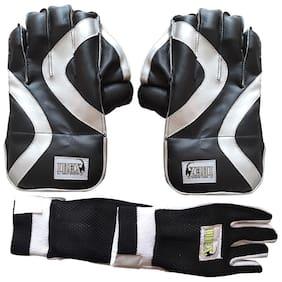 IBEX Practice Wicket Keeping Gloves Combo Black with Inner Gloves Wicket Keeping Gloves (Men, Black)