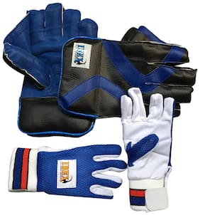 IBEX Practice Wicket Keeping Gloves and Inner Gloves Combo (Men, Blue)
