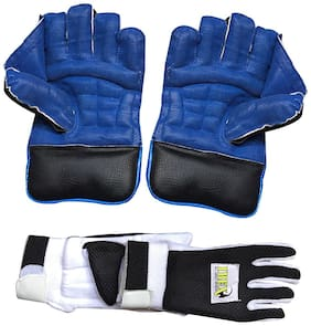 IBEX Regular Wicket Keeping Gloves Combo with Black Inner Gloves Wicket Keeping Gloves (Men, Blue, Black)